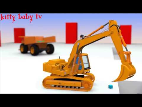 Máy xúc,ô tô,cần cẩu đồ chơi,mô hình,hoạt hình năm 2015 - excavator for kids,