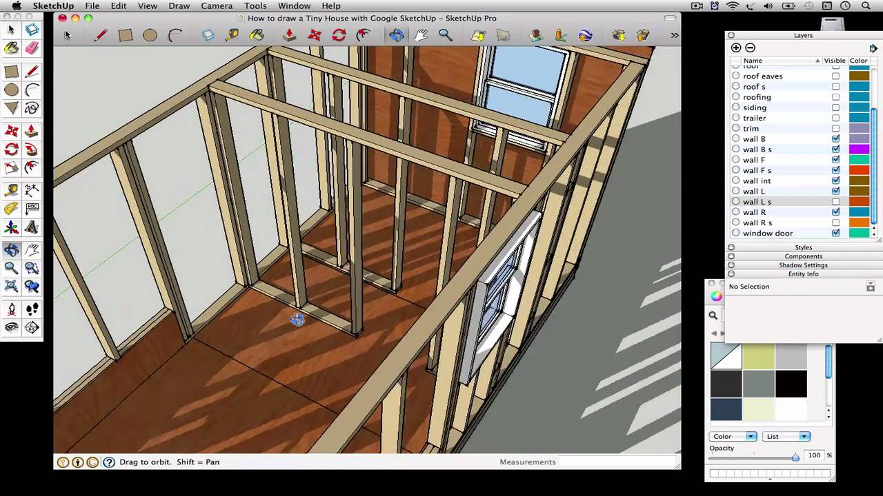 How to draw a Tiny House with Google SketchUp Part 6