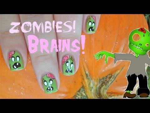 Zombie Halloween Nail Art