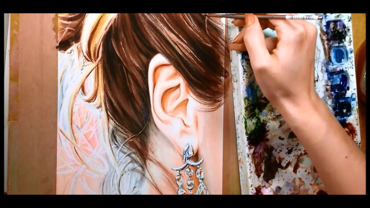How to paint hair and ears watercolor portrait tutorial for Watercolor portrait tutorial