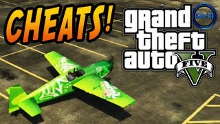 GTA 5 CHEATS Gameplay CARS, SLOW-MO, PARACHUTE & MORE