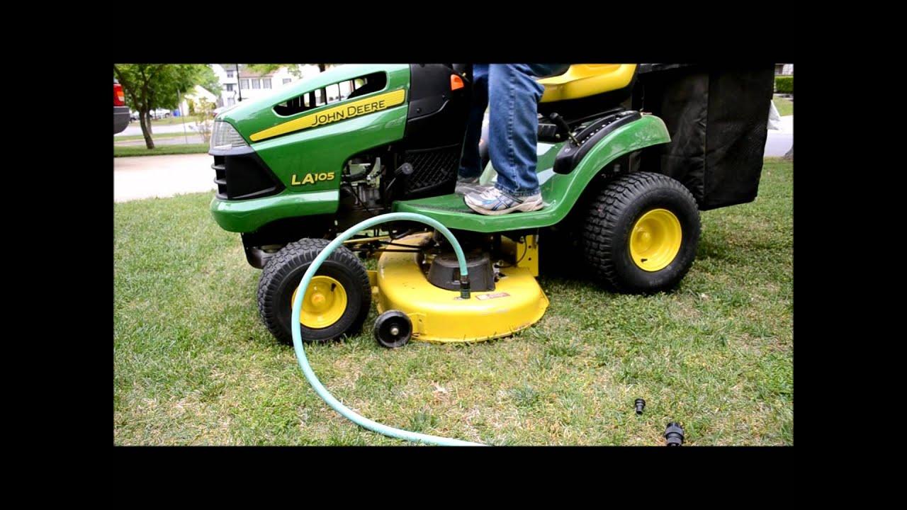 John Deere Riding Mower Deck Auto Wash La 105 Youtube