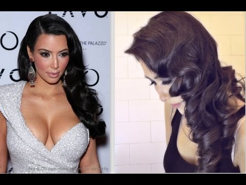 ★KIM KARDASHIAN HAIR TUTORIAL:  CURLY VINTAGE HAIRSTYLES |HOW TO CURL YOUR HAIR FOR MEDIUM LONG HAIR