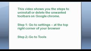 How To Delete (uninstall) Unwanted Toolbars On Google Chrome