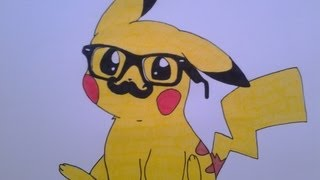How To Draw A Cute Pikachu, With Hipster Glasses And