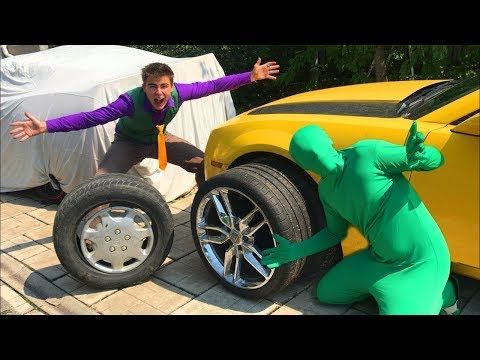 Mr. Joe climbed into Corvette's Trunk Car & Green Man turned in Red Man w/ Funny Yellow Man 13+