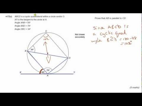 GCSE Maths revision Exam practice circle theorems - Alternate segment theorem & Cyclic quad