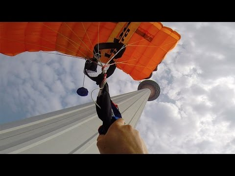 Friday Freakout: BASE Jumper Skims Tower, Lands With Line Twists