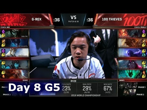 GRX vs 100 | Day 8 Group D Decider S8 LoL Worlds 2018 | G-Rex vs 100 Thieves