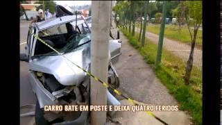 Motorista cochila ao volante e bate em poste na Via Expressa
