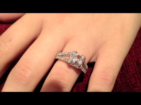 Classy Platinum Diamond Quality Princess Cut Engagement Ring- p8190
