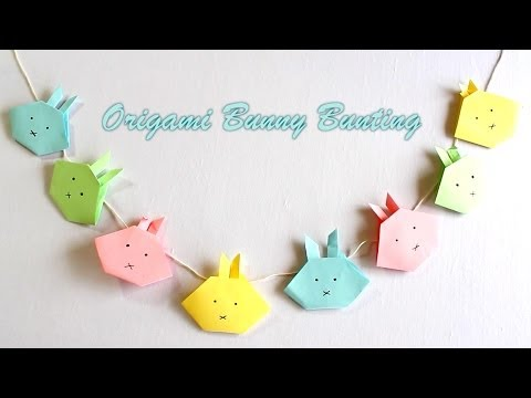 Easter crafts: How to make an Origami Bunny Bunting - origami nyuszi hajtogatás
