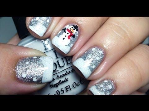 Easy Snowman Winter Nails Tutorial
