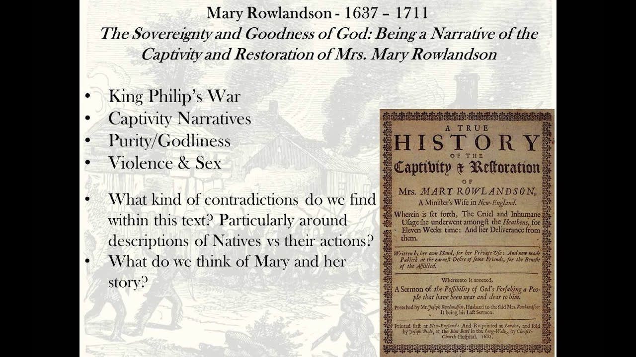 analysis of mary rowlandson Ebscohost serves thousands of libraries with premium essays, articles and other content including mary rowlandson's captivity and the `place' of the woman subject.