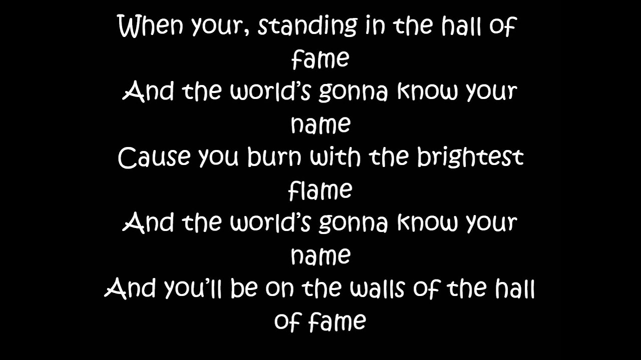 hall of fame lyrics script.