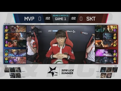 Faker Plays Rumble With Smite - MVP vs SKT Game 1 Highlights - 2018 LCK Summer W5D1