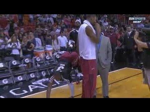 PHOTO BOMB LeBron James and Dwyane Wade Photobomb Chris Bosh Post Game Interview