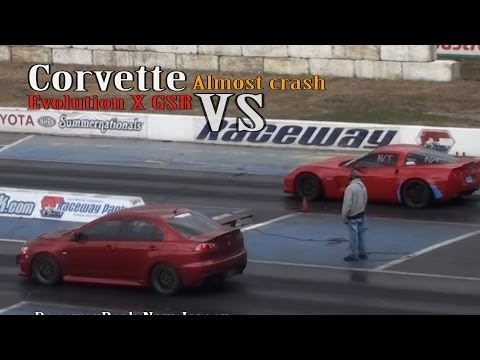 Corvette Almost Crash EVO X GSR