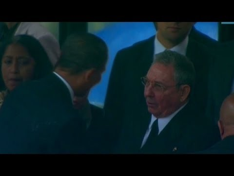 Obama shakes Raul Castro's hand