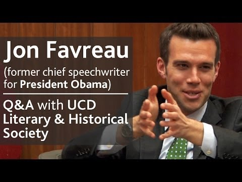 Jon Favreau - former chief speechwriter for President Obama |  Q&A with UCD L&H Society