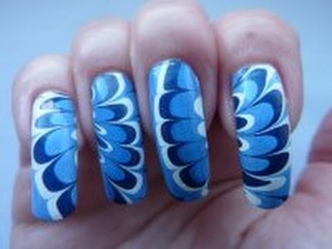 Winter Flower Blue & White Water Marble Technique Nail Art Design How To Tutorial HowTo HD Video