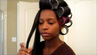 Natural Hair: Roller Setting Straight Natural Hair