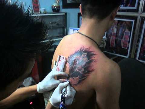 Hình xăm chó sói 3d tác phẩm của tattoothanhbinh (Bình Xăm Cẩm Phả)