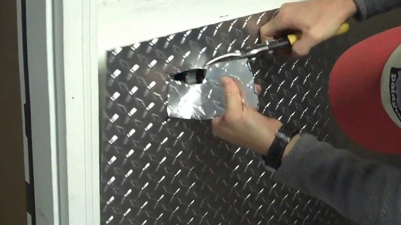Part 1 - Installing aluminum diamond plate wall panels in garage, how to cut around an outlet ...