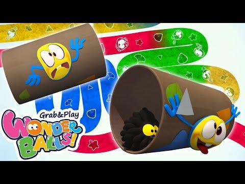 Squishy Balls Vs Running Crayons | Funny Cartoons For Kids Wonderballs Official