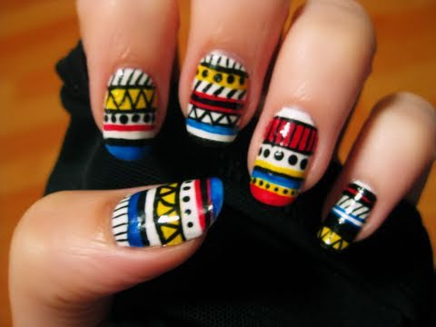 Tribal Aztec Nails, ♡⋅•⋅⋅•⋅♥⋅•⋅⋅•⋅