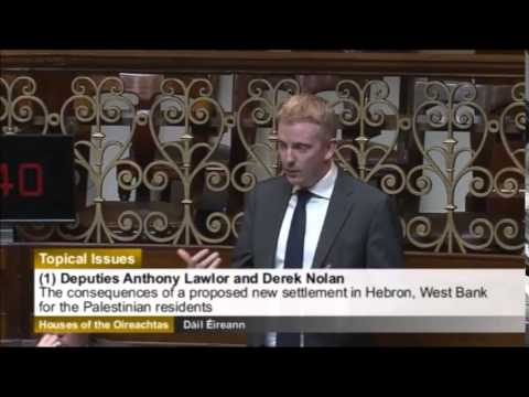 Derek Nolan speaking on the proposed Hebron Settlement in the West Bank