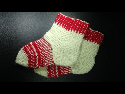 Вязание носков тунисским крючком 編みソックス How to crochet adult socks