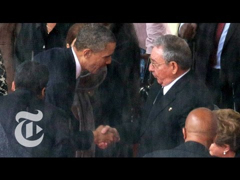Obama Shakes Hands With Raúl Castro at Mandela's Memorial