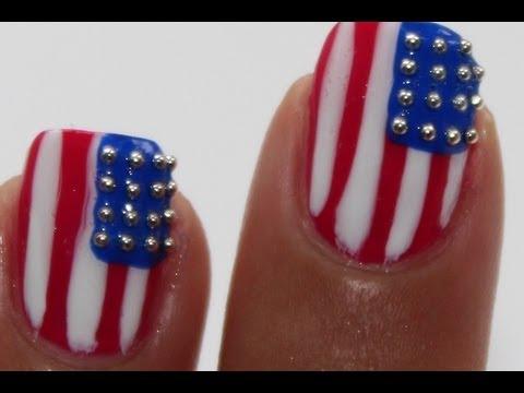 USA nail art 4th of july - YouTube