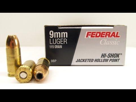 Federal 9mm 115 Grain HI-SHOK JHP 9BP Clothing and Clear Gel Tests