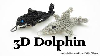 Rainbow Loom 3D Dolphin Charm/Figure How To Animal