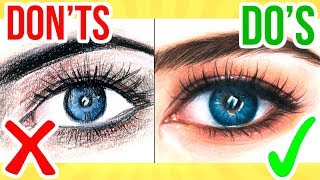 DO'S & DON'TS: How To Draw a Eye using Coloured Pencil | Step By Step Drawing Tutorial