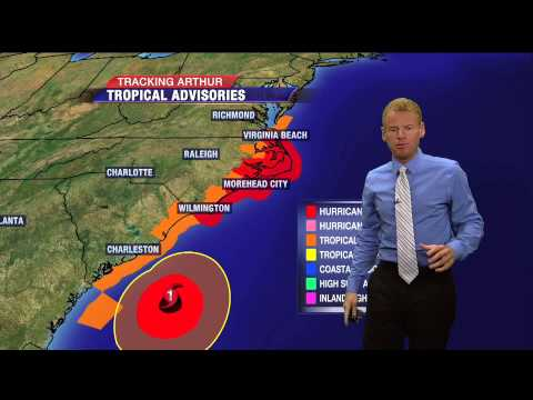 Arthur now a hurricane, landfall likely in North Carolina tonight