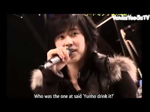 """YunJae moment #37 """"Never will there not be a moment of us"""", Gosh i love the fan that shouted, """"Yunho drink it"""" hahahah priceless. & yunnie betrayed his boojae~ ;P"""
