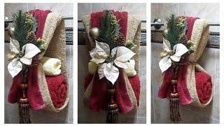 Decorar las toallas de baño para navidad