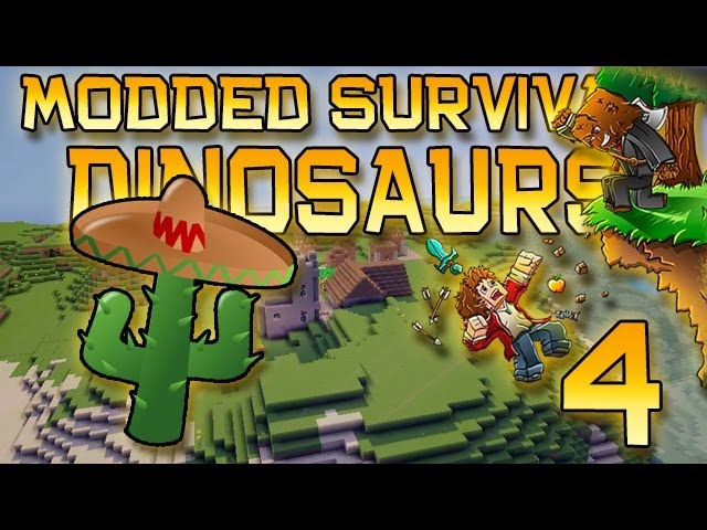 Minecraft: Modded Dinosaur Survival Let's Play w/Mitch! Ep. 4 - CACTUS!