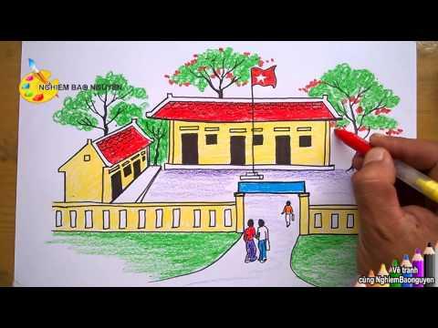 Vẽ tranh Ngôi trường của em/How to Draw My school