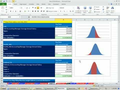 Excel 2010 Statistics 62: Calculating Bell Normal Distribution Probabilities & X Values 10 Examples