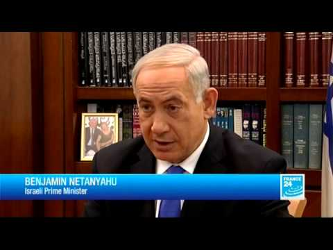 Israeli Prime Minister Benjamin Netanyahu talks to France 24