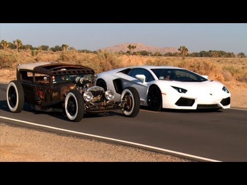 Rat Rod vs Lamborghini Aventador! Roadkill Episode 5, On this episode of Roadkill, HOT ROD's David Freiburger and Mike Finnegan spend 24 crazy hours with a 1930 Model A Rat Rod and a 2012 Lamborghini Aventador t...