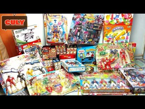 Mở thùng đồ chơi to mới mua rất nhiều siêu nhân,lego,máy bay cảnh sát xe cứu hỏa unbox toy collect