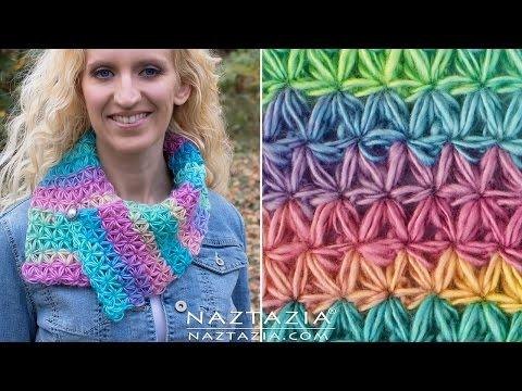 DIY Tutorial - How to Crochet Oh My Stars Scarf - Puffed Flower Star Stitch Bufanda