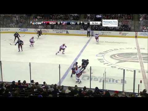 Huge Hit : Washington Capitals v Columbus Blue Jackets : January 17 2014