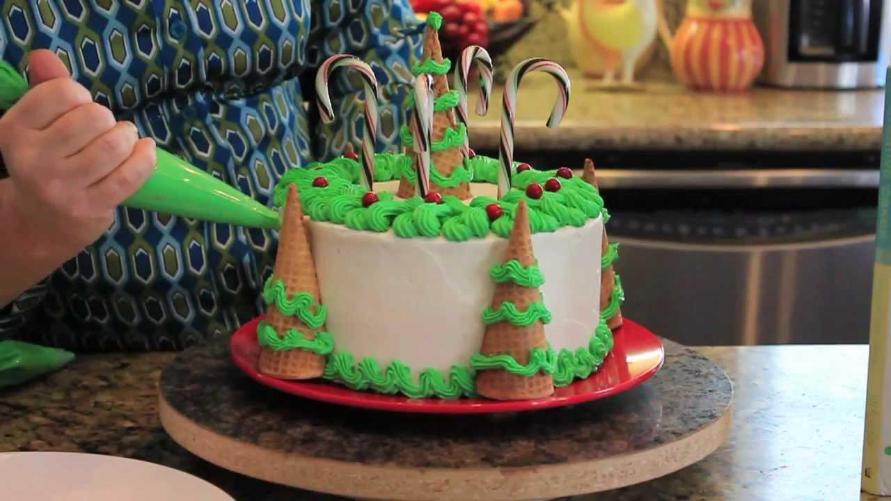 Cake Decoration Christmas Tree : Decorating Christmas Tree Cake - YouTube