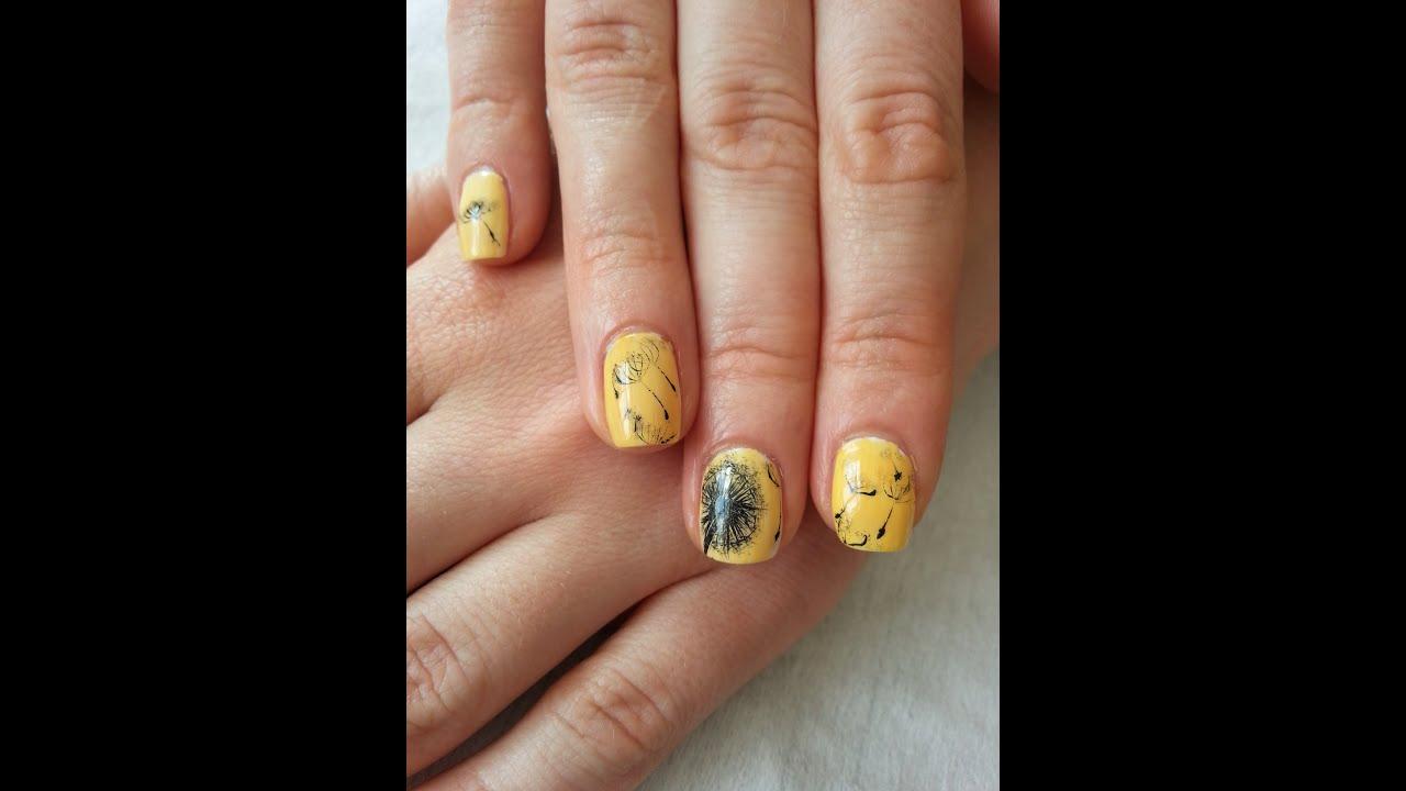Желтый одуванчик на ногтях